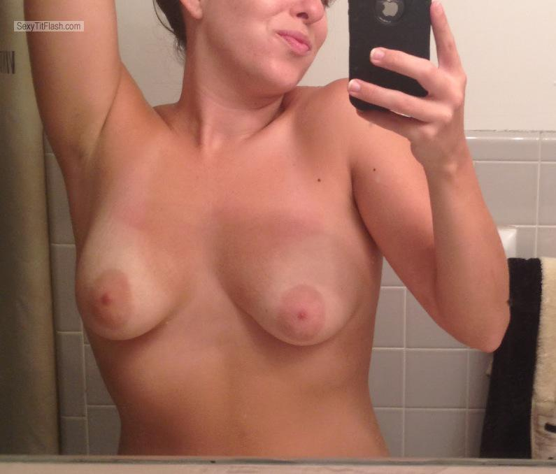 Tit Flash: Girlfriend's Tanlined Medium Tits (Selfie) - Dana from United States