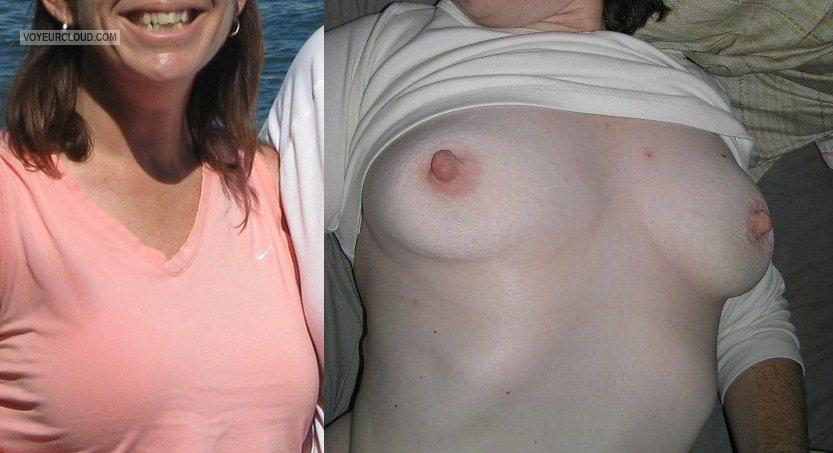 Tit Flash: Wife's Medium Tits - Candi from United States