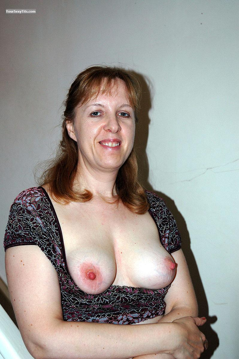 Tit Flash: Medium Tits - Topless UK Hotie from United Kingdom