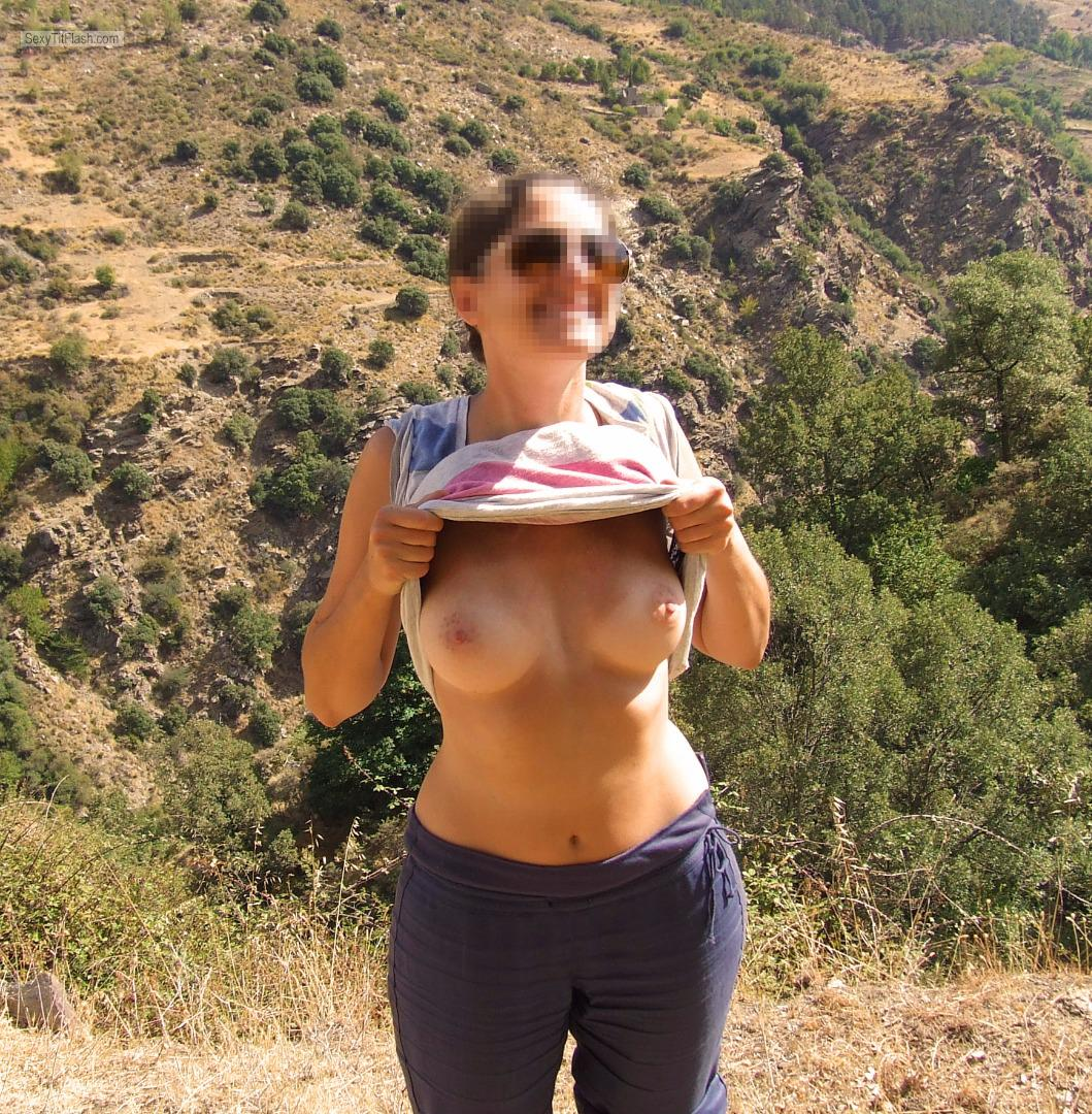Tit Flash: Girlfriend's Tanlined Medium Tits - Sophie from United Kingdom