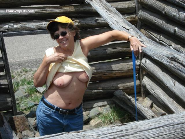 Tit Flash: Medium Tits - Topless Fun Lady from United States