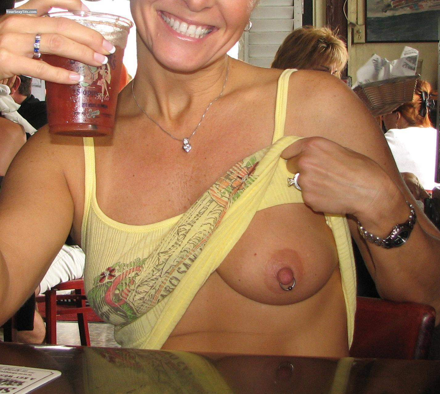 Tit Flash: Medium Tits - Nora from United StatesPierced Nipples
