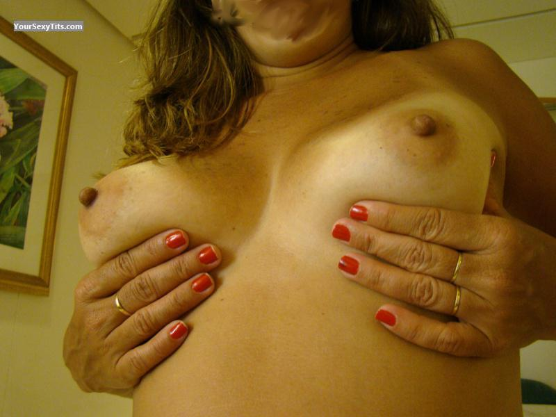 Tit Flash: Wife's Medium Tits - Casal MMF from Brazil