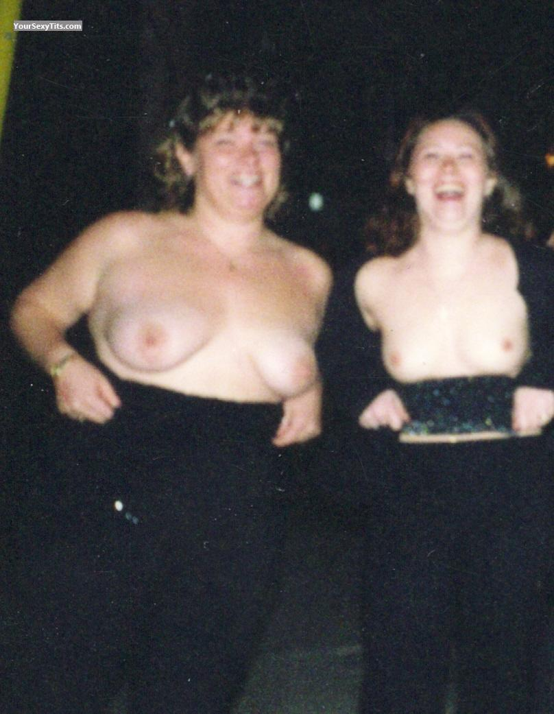 Tit Flash: Medium Tits - Topless Double Flash from United States