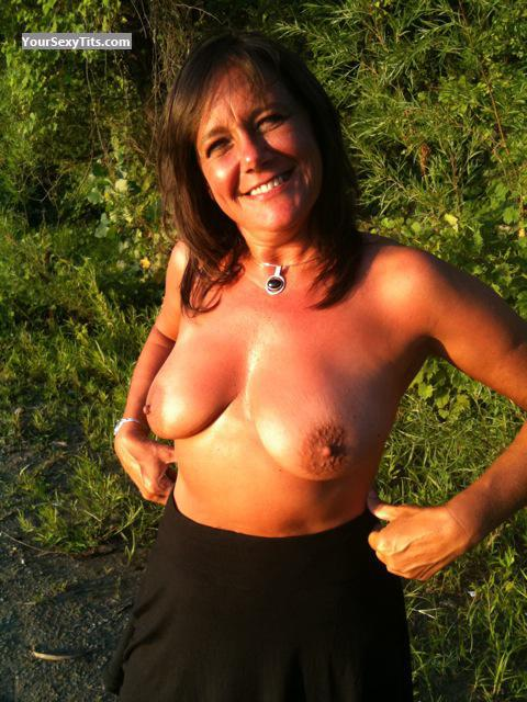 Tit Flash: Medium Tits - Topless Pepperduval from United States