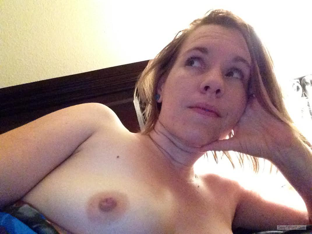 Tit Flash: Wife's Small Tits (Selfie) - Topless LA Love Bunny from United States