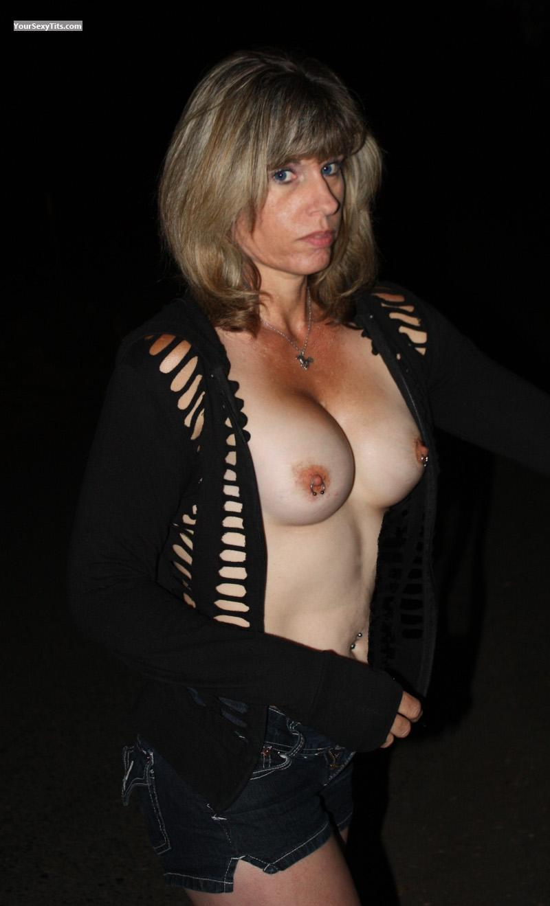Tit Flash: Medium Tits - Topless Danny from United StatesPierced Nipples