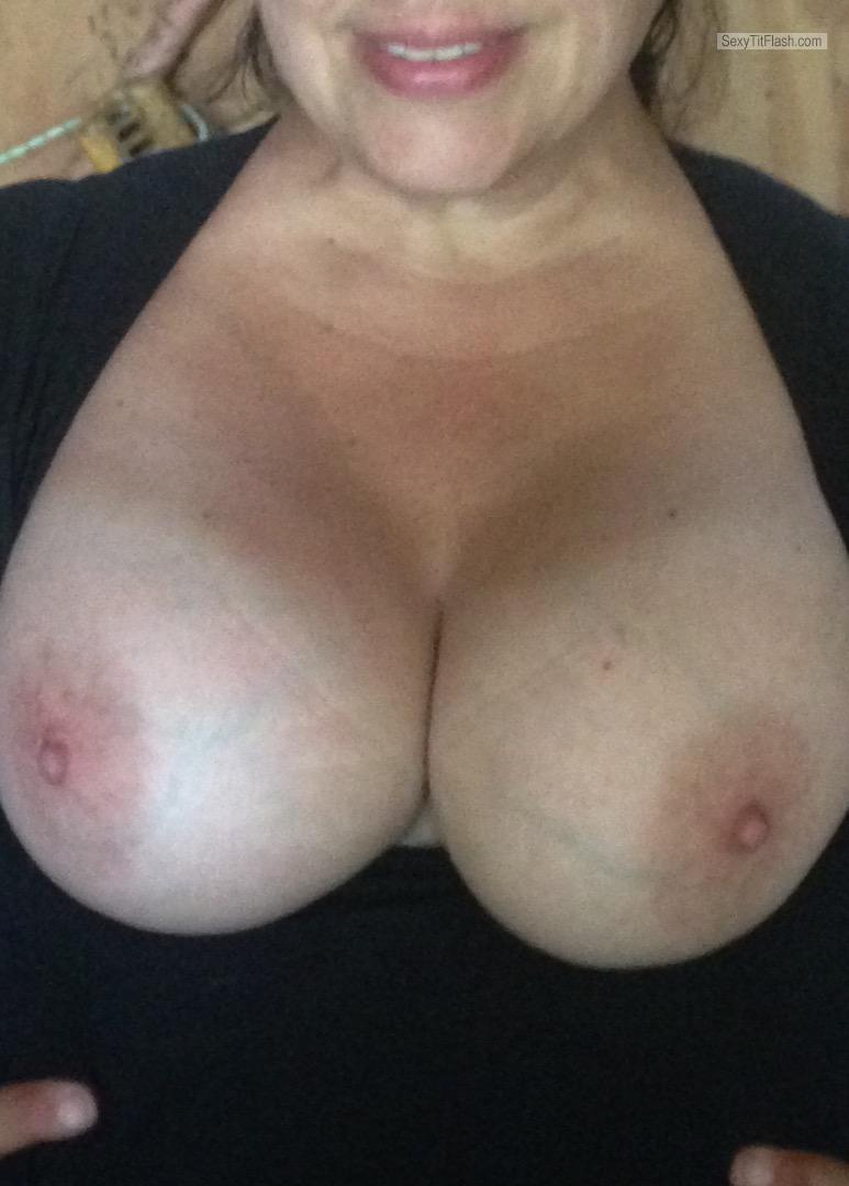 Tit Flash: Girlfriend's Tanlined Big Tits - Kyle S Bitch from United Kingdom