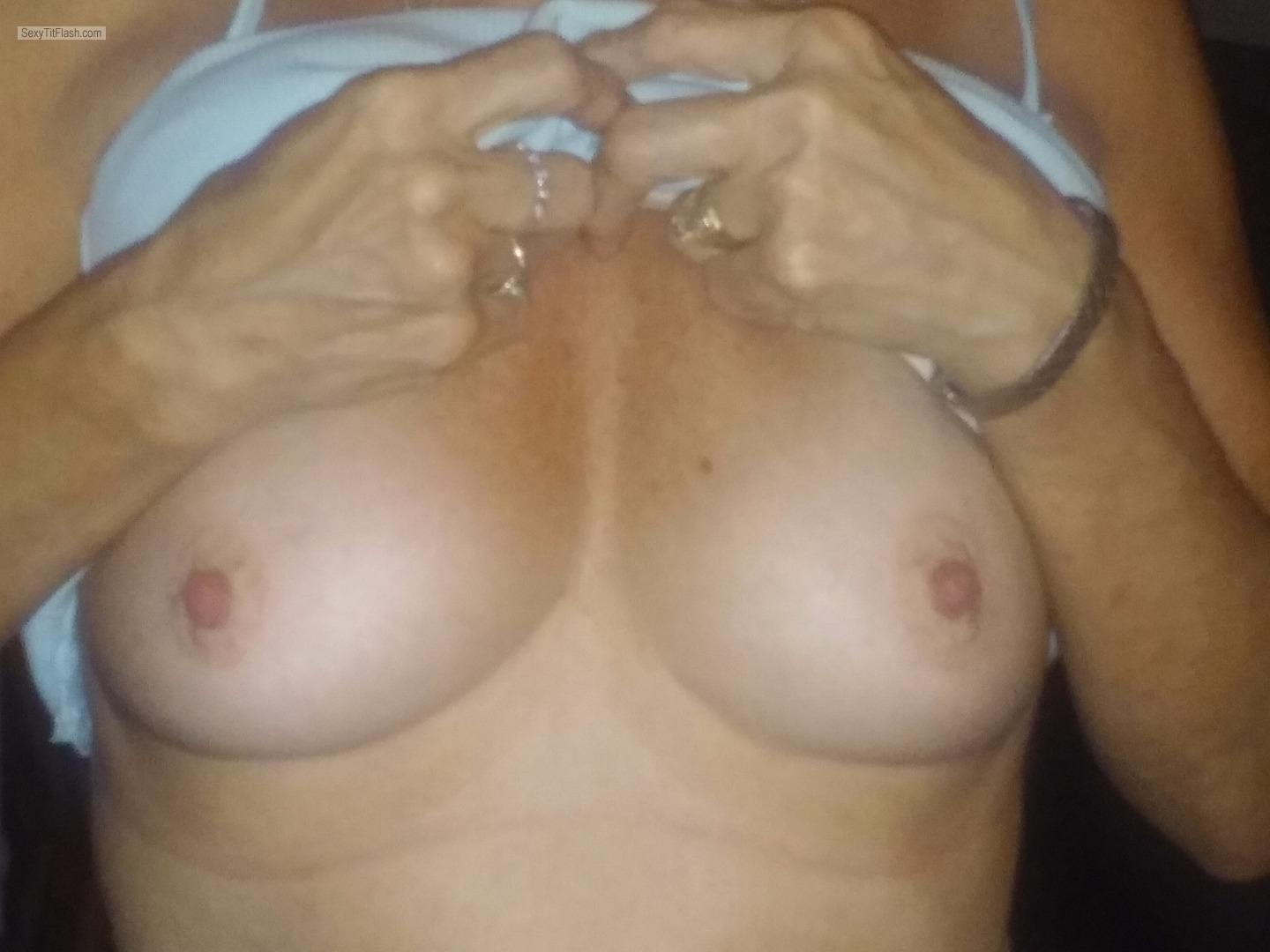 Tit Flash: My Friend's Tanlined Medium Tits - Angel from United States