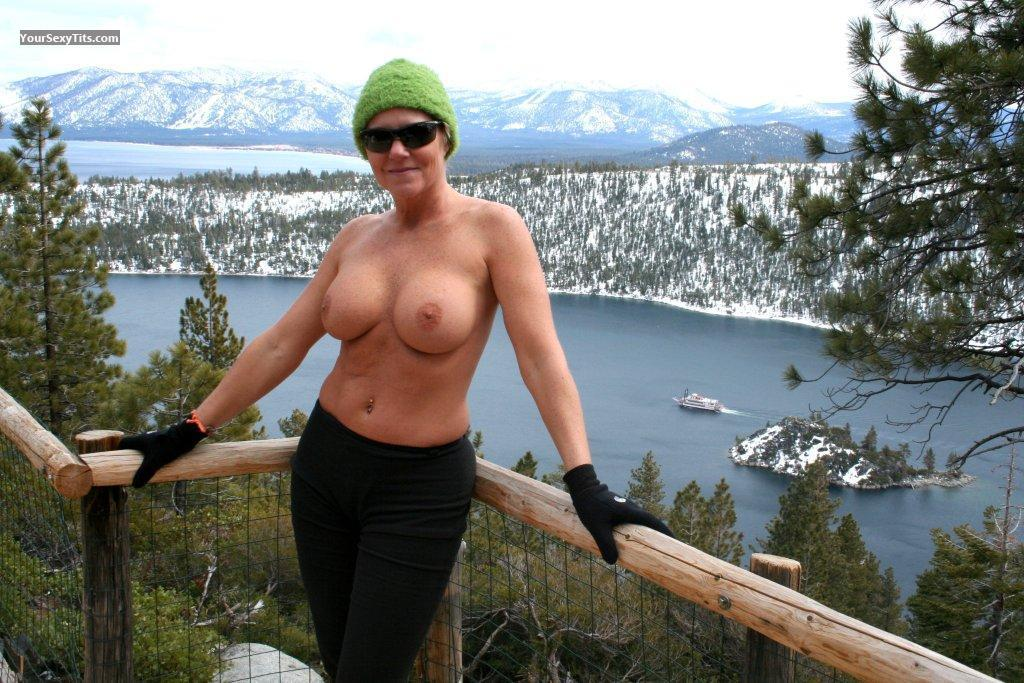 Tit Flash: Wife's Medium Tits - Topless Cheri from United States