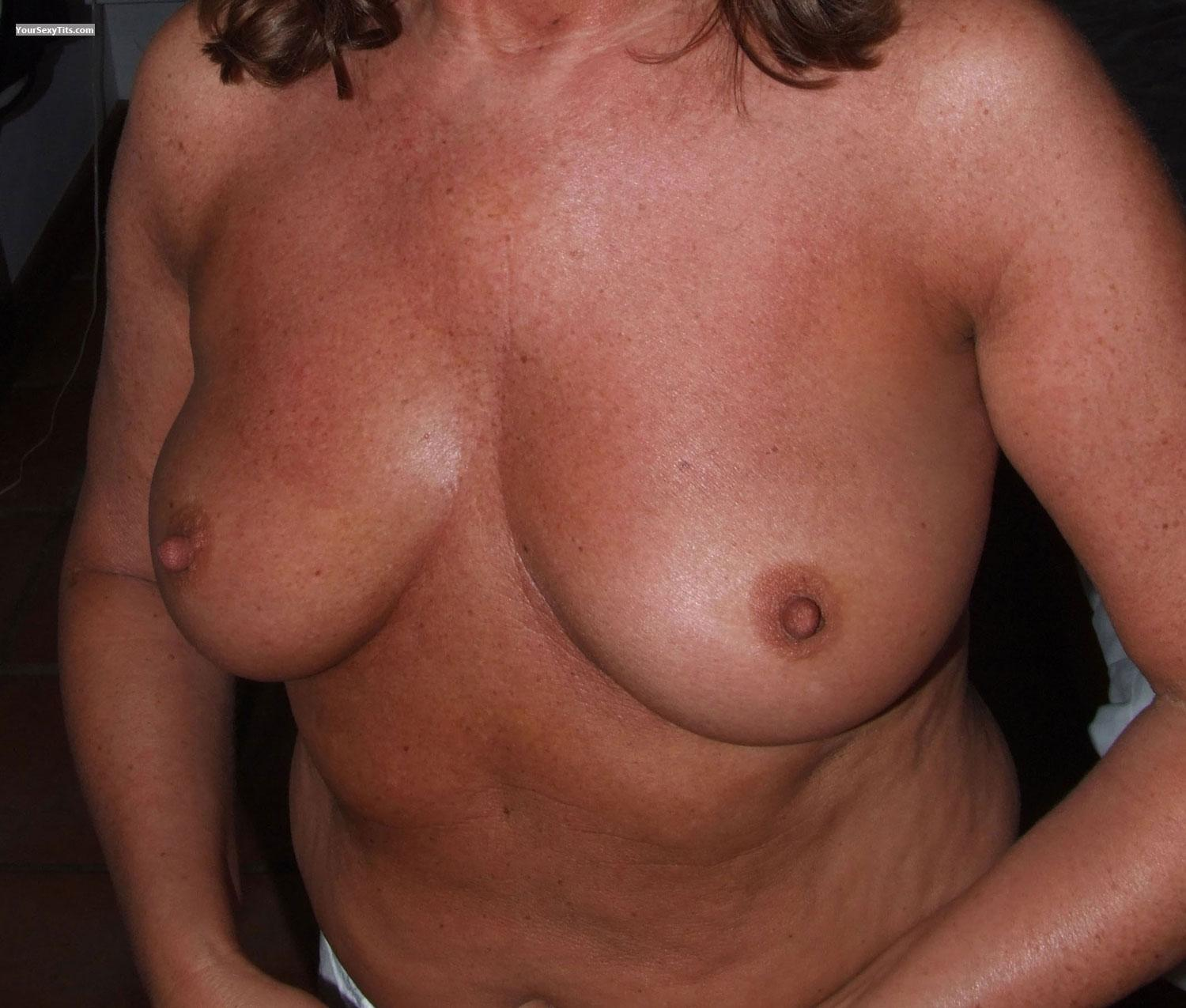 Tit Flash: Wife's Medium Tits - Samantha from United Kingdom