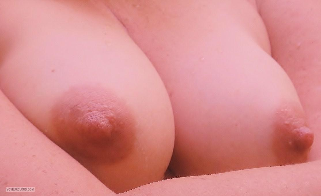 Tit Flash: Girlfriend's Medium Tits - Amber from United States