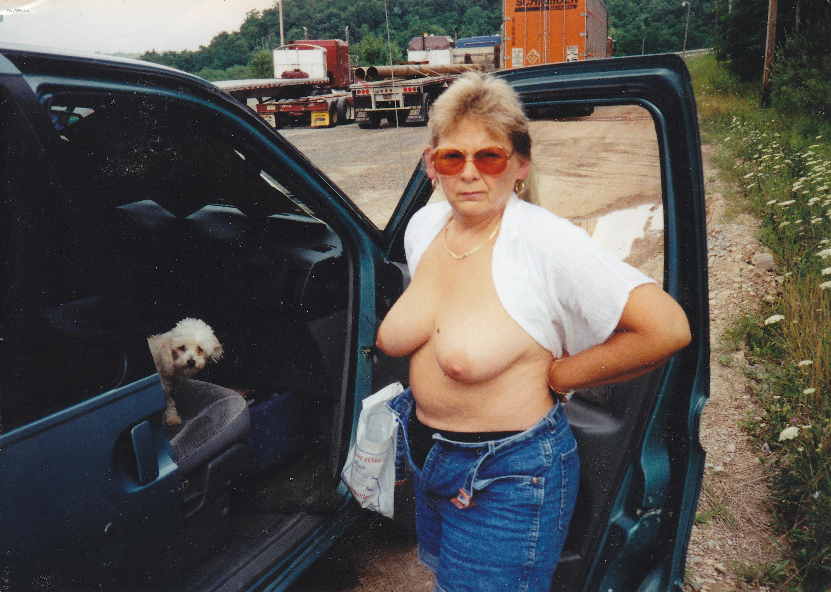 Tit Flash: Wife's Medium Tits - Topless Marie from United States