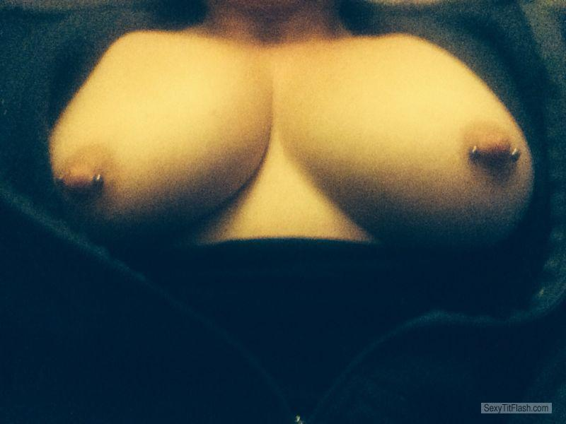 Tit Flash: My Medium Tits (Selfie) - PB from United KingdomPierced Nipples