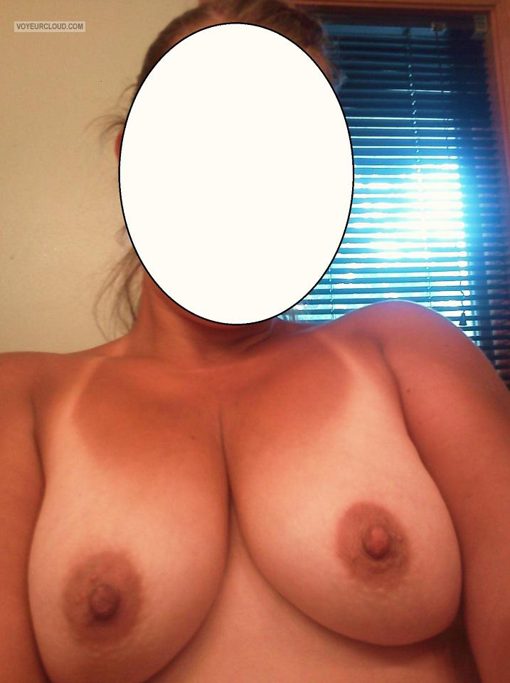 Tit Flash: My Medium Tits With Strong Tanlines (Selfie) - AJ from United States