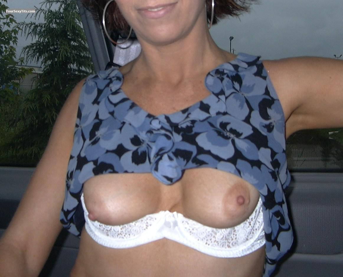 Tit Flash: Girlfriend's Medium Tits - Sally from United States