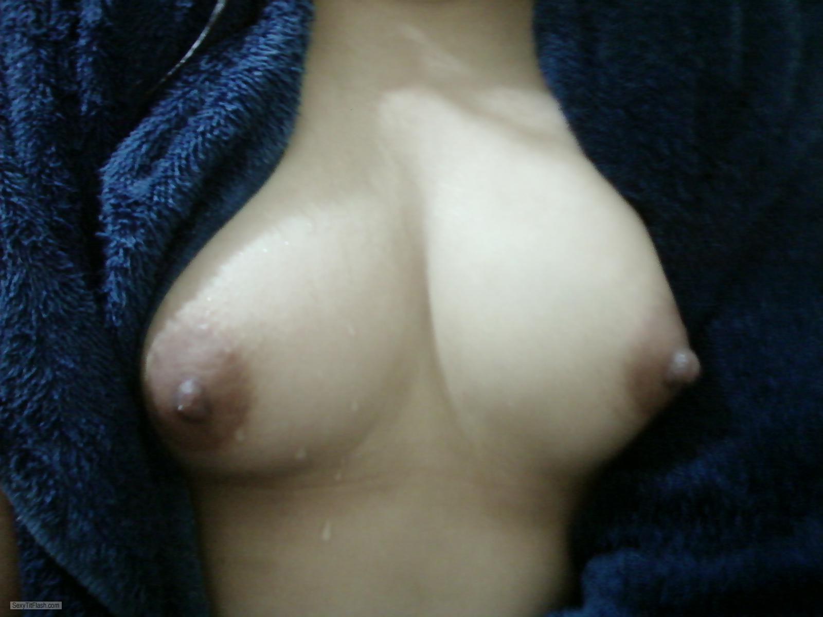 Tit Flash: My Friend's Medium Tits (Selfie) - Whitefox from United States