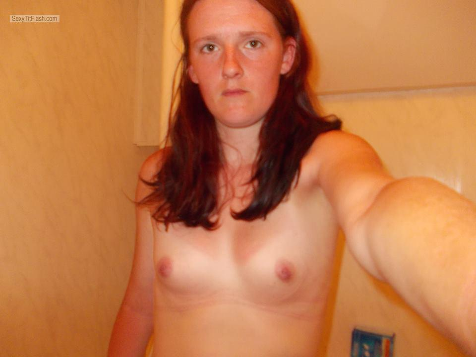Tit Flash: Room Mate's Tanlined Very Small Tits (Selfie) - Topless Pippa from United Kingdom