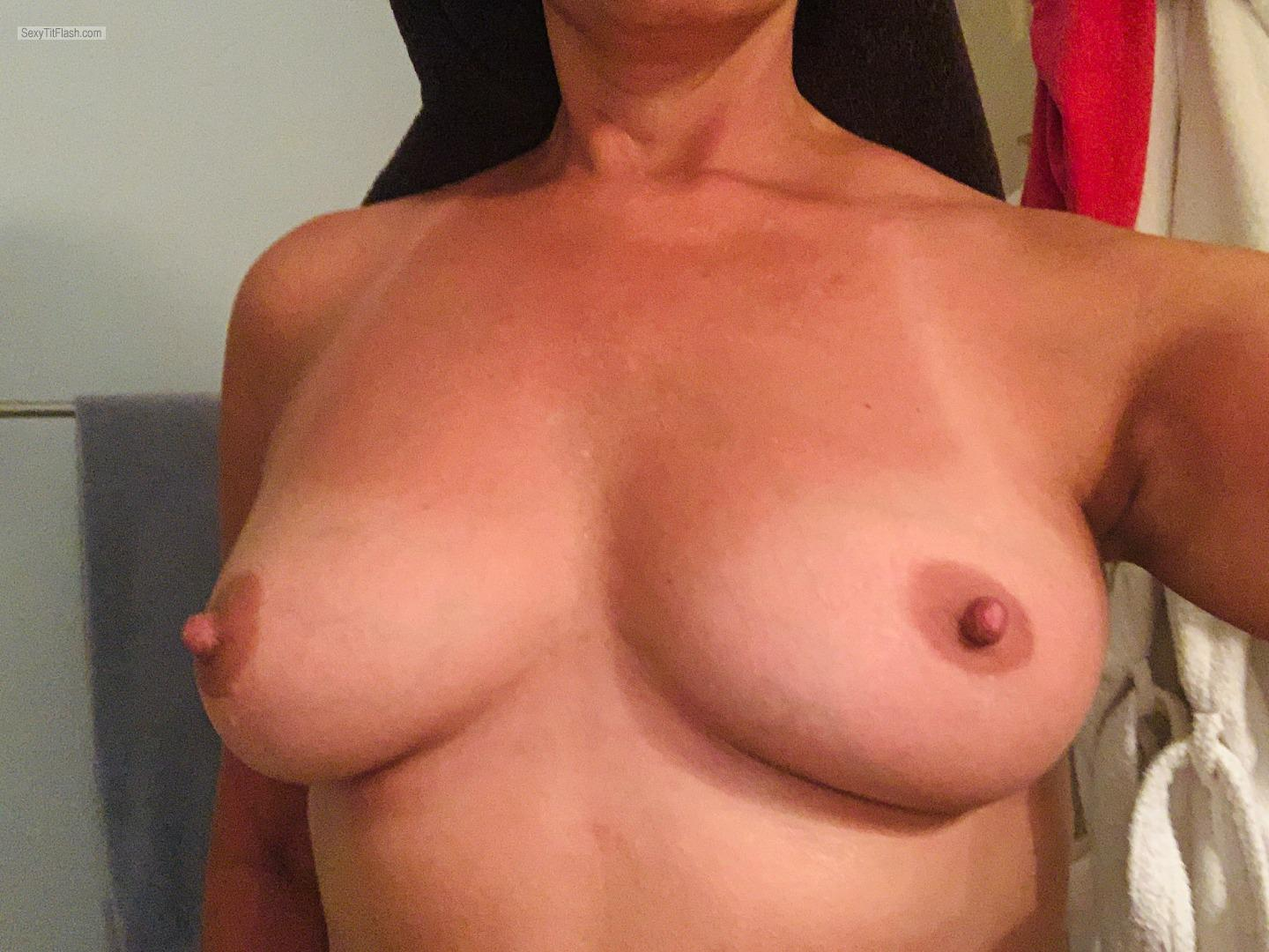 Tit Flash: Wife's Medium Tits - Hot Housewife from United States