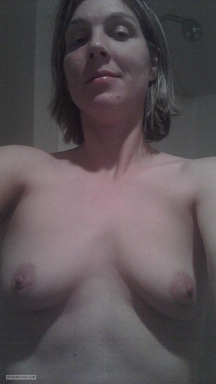 Tit Flash: Wife's Medium Tits (Selfie) - Topless Linnea from United States