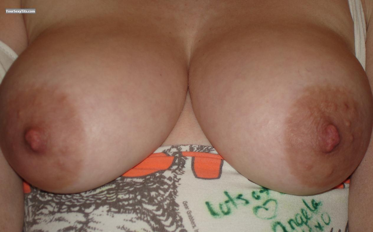 Tit Flash: Medium Tits - Big Areola Gal from United States