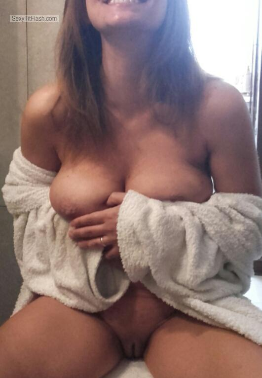 Tit Flash: Room Mate's Medium Tits With Very Strong Tanlines - Topless Jasmine from United Kingdom