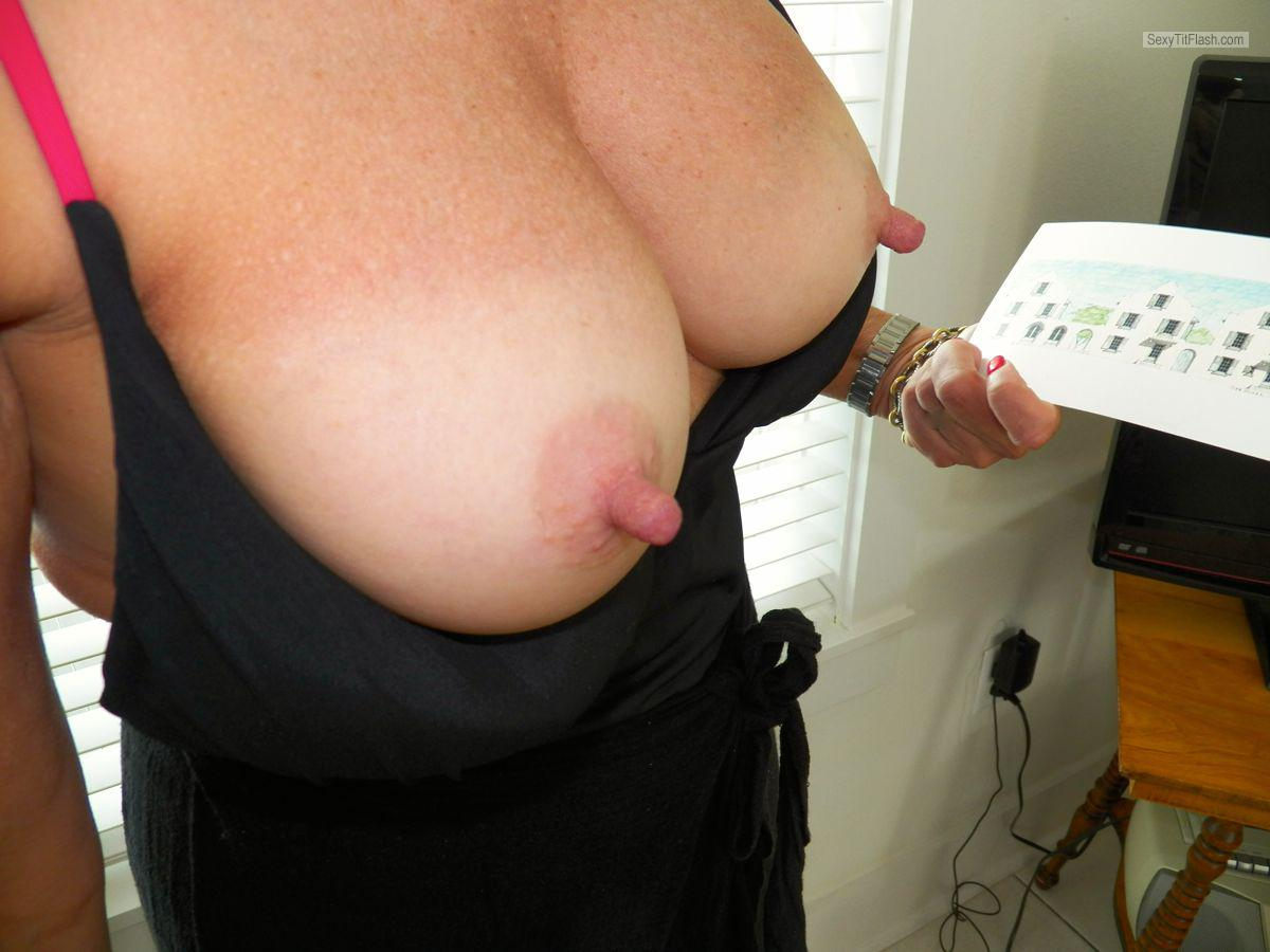 Tit Flash: Wife's Tanlined Medium Tits - Jolie from United States