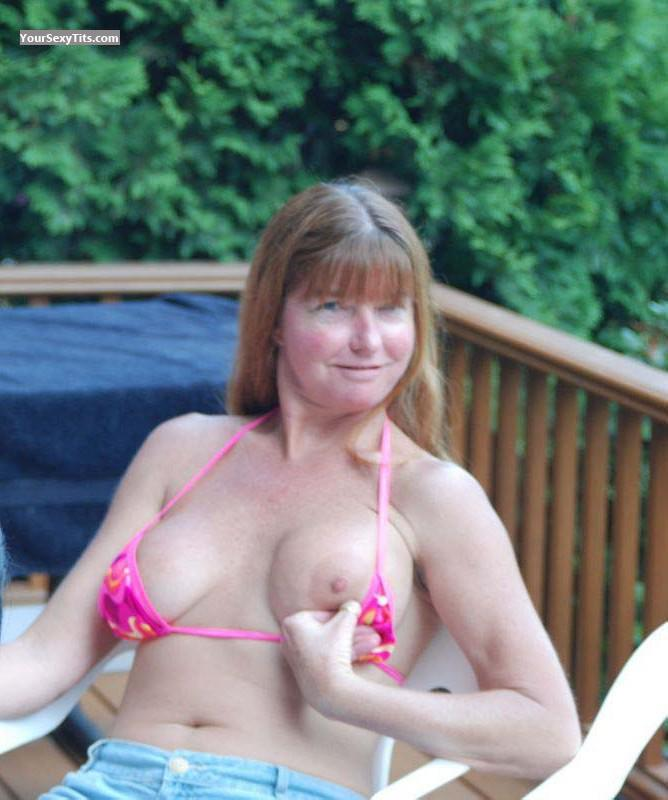 Tit Flash: Wife's Medium Tits - Topless Auggie from United States