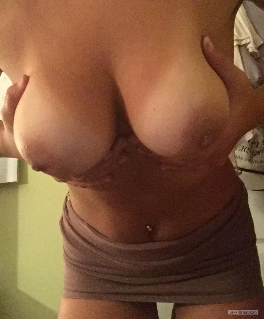 Tit Flash: My Medium Tits With Strong Tanlines (Selfie) - Loves Being Nude from United States