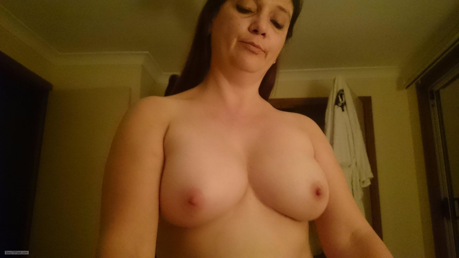 Tit Flash: Wife's Medium Tits (Selfie) - Topless 46yo Mature from Australia