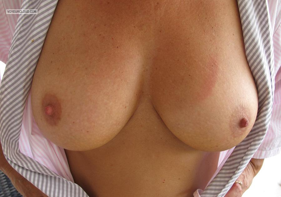 Tit Flash: Wife's Medium Tits - Mrs Luckyme from United Kingdom