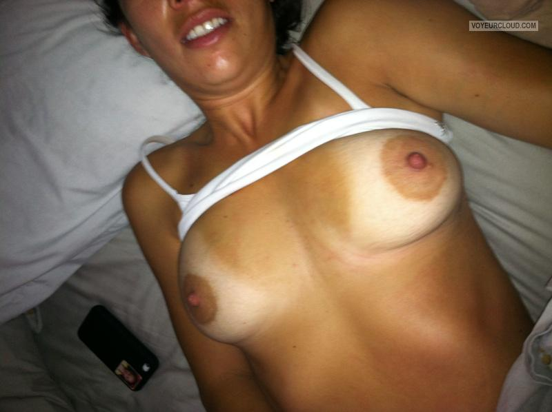 Tit Flash: Wife's Tanlined Medium Tits - Hotwife from United States