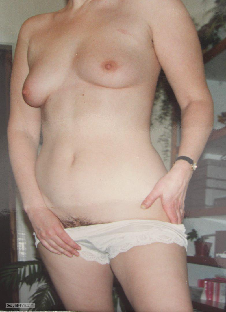 Tit Flash: Wife's Medium Tits - Topless Kenaropel from United Kingdom
