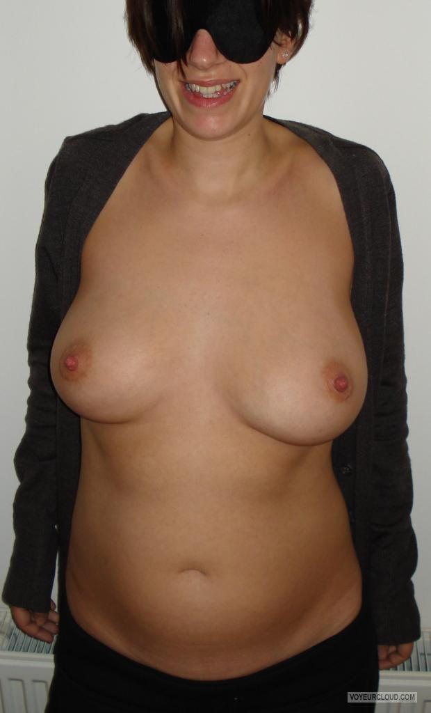 Tit Flash: Wife's Medium Tits - G from France