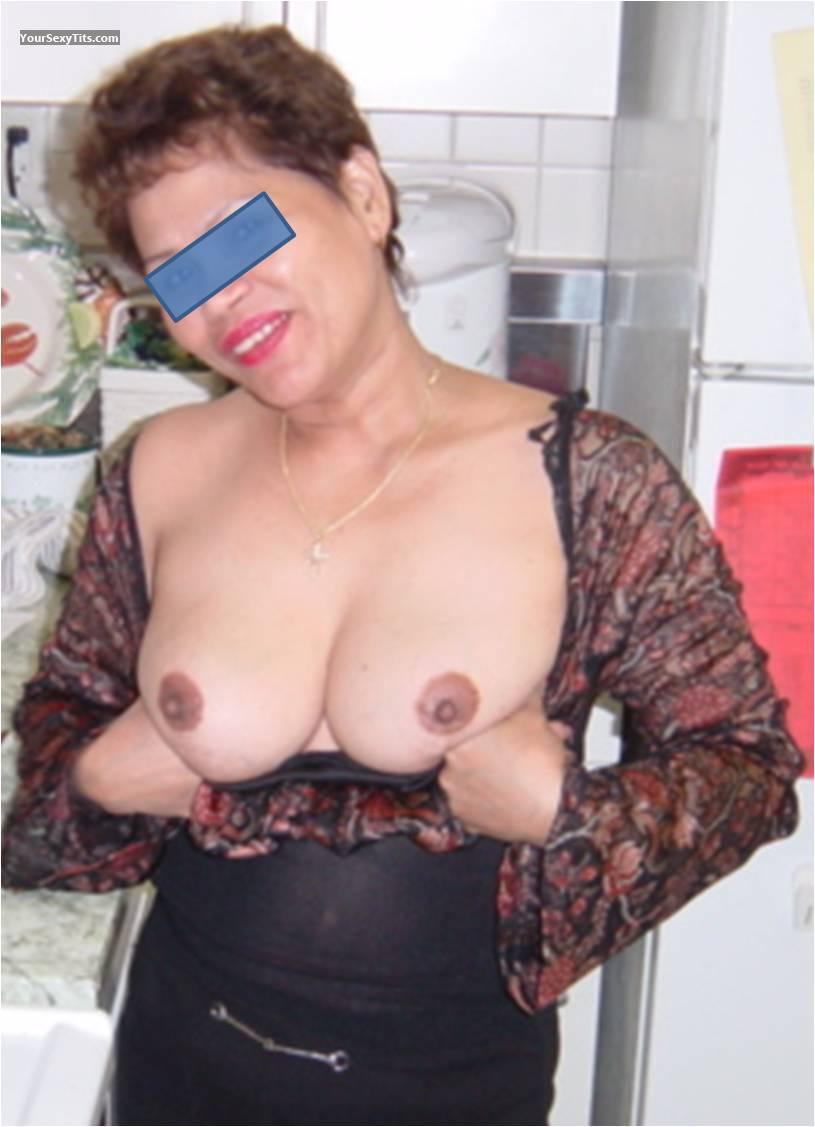 Tit Flash: Wife's Medium Tits - MM from United States