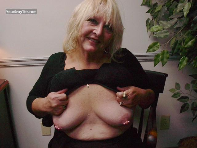Tit Flash: Ex-Wife's Medium Tits - Topless Slut Wife from United StatesPierced Nipples