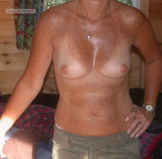 Tit Flash: My Medium Tits With Strong Tanlines - OttawaFemale from Canada