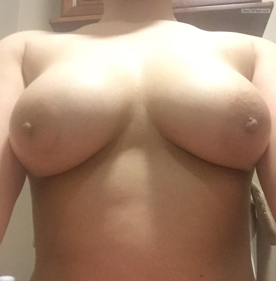 Tit Flash: My Medium Tits - Flasher from United States
