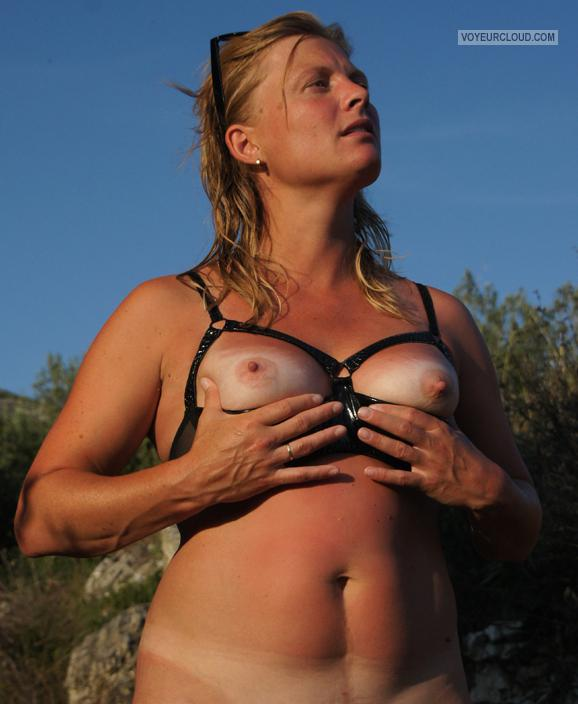 Tit Flash: My Small Tits With Strong Tanlines - Topless Flirty from Belgium