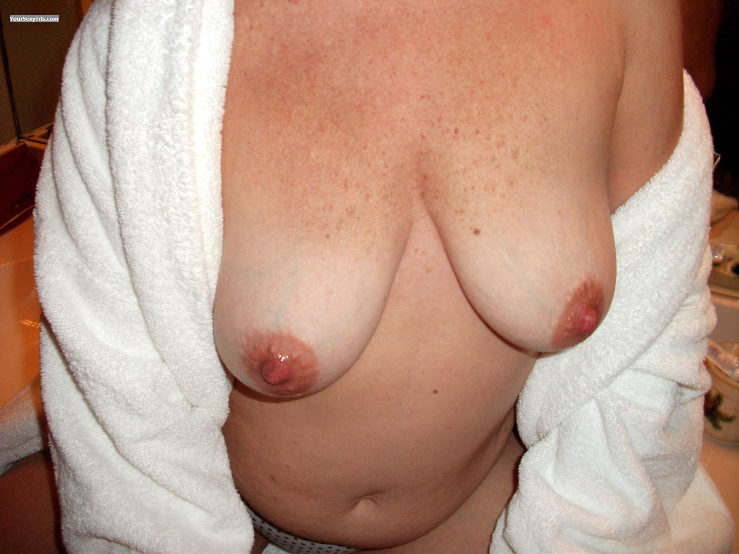 Tit Flash: Wife's Medium Tits - Helga from United States