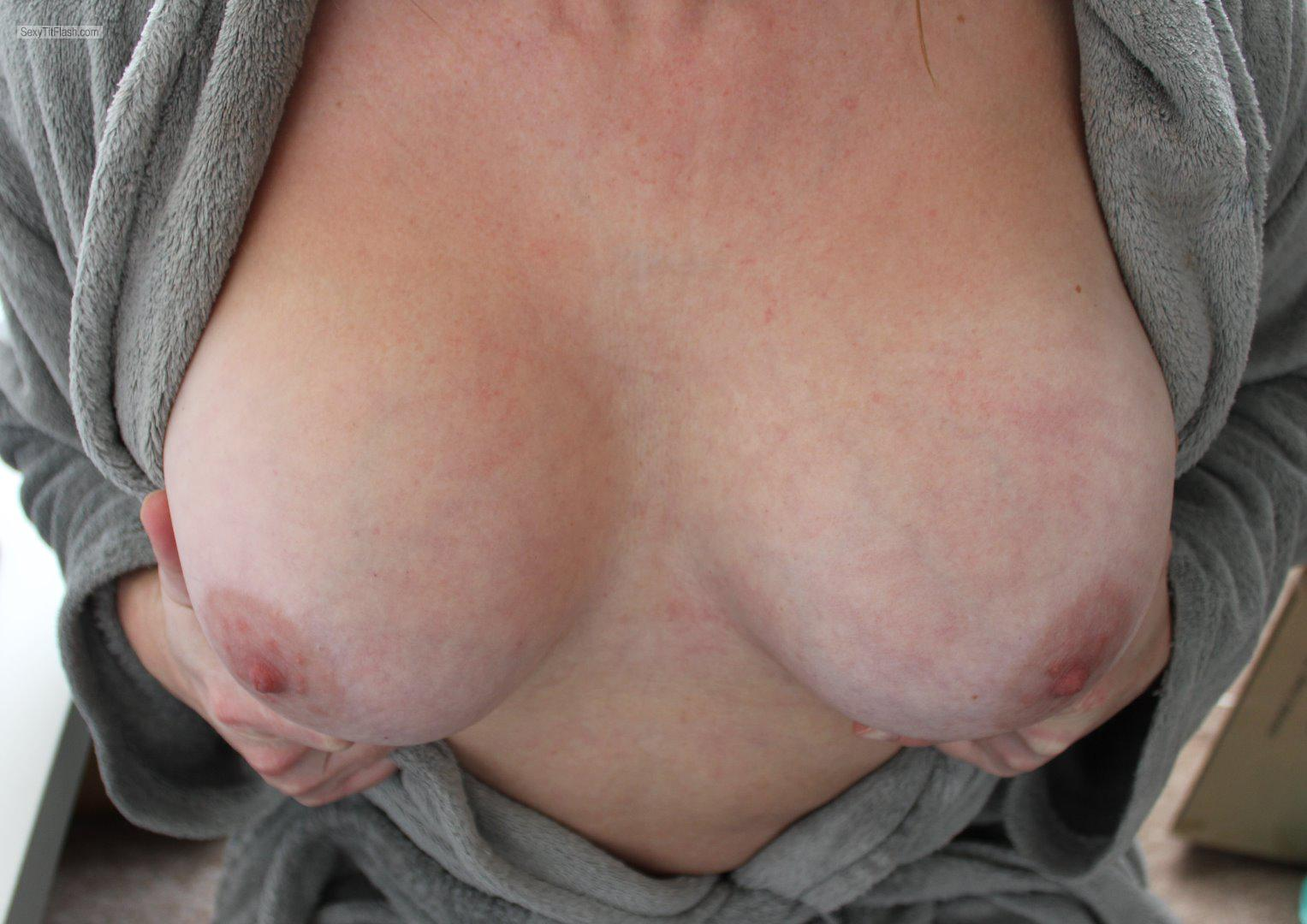 Tit Flash: My Medium Tits (Selfie) - Topless No Bra Day from United Kingdom