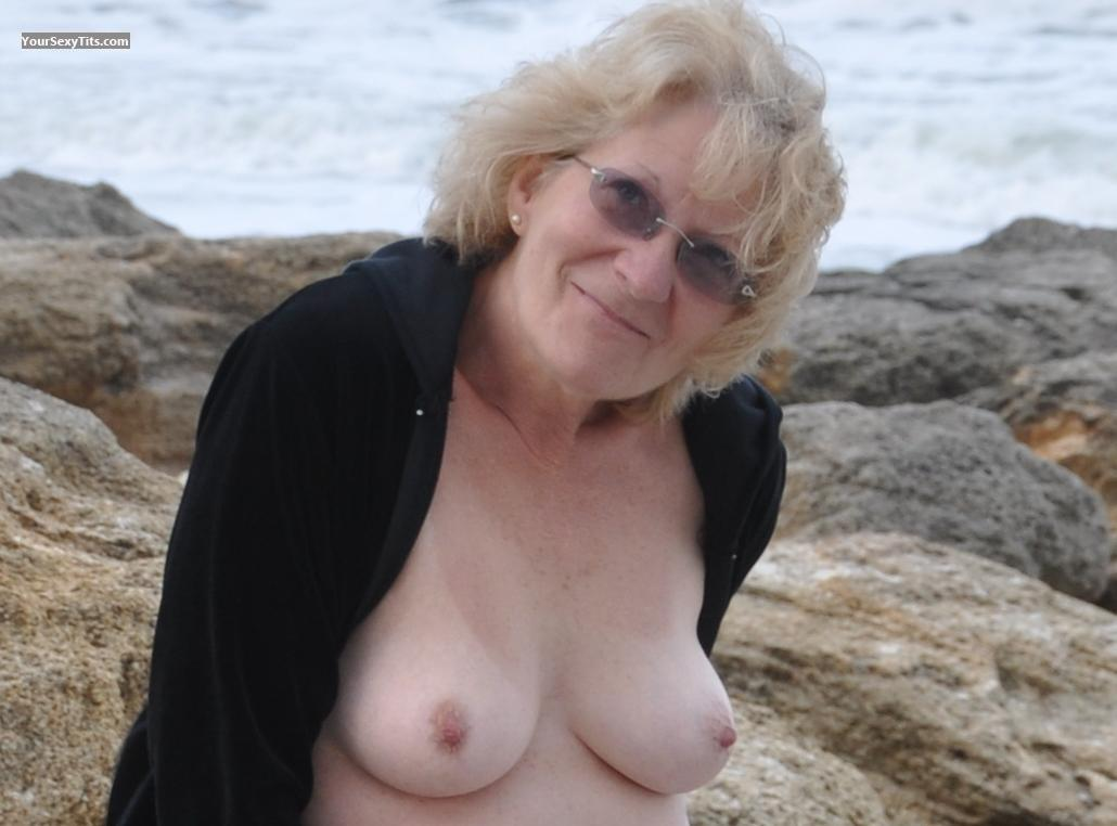 Tit Flash: My Friend's Medium Tits - Topless Smilin from United States