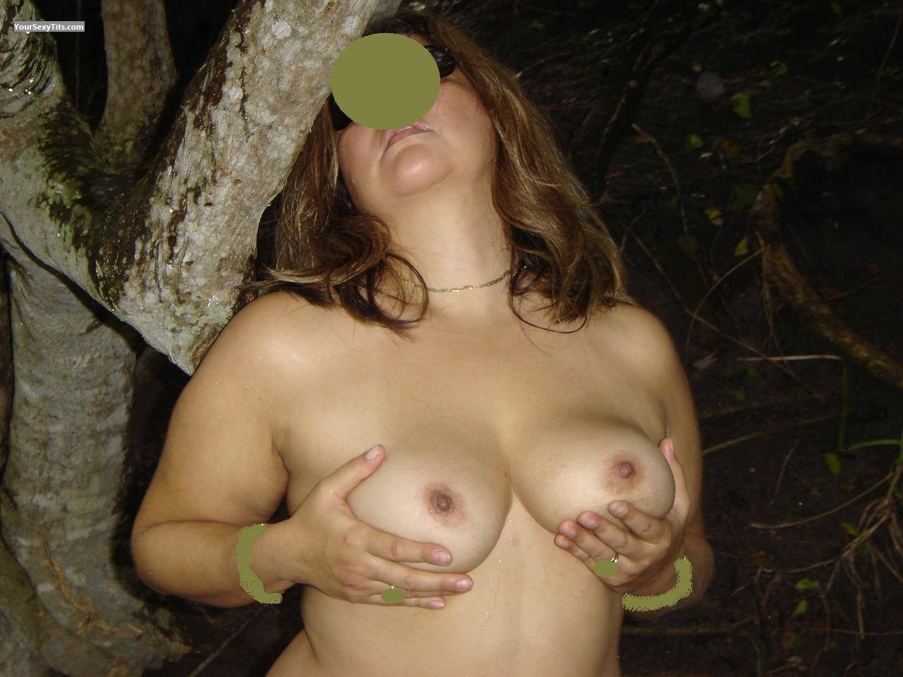 Tit Flash: Wife's Medium Tits - Brionna from Costa Rica