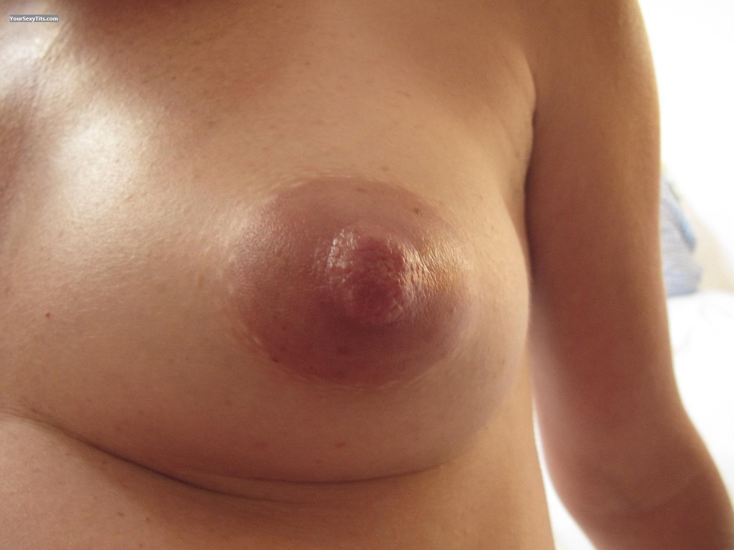 Tit Flash: Wife's Tanlined Medium Tits - Geraldine from Spain