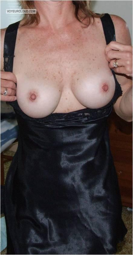 Tit Flash: Wife's Medium Tits - Karen from United States