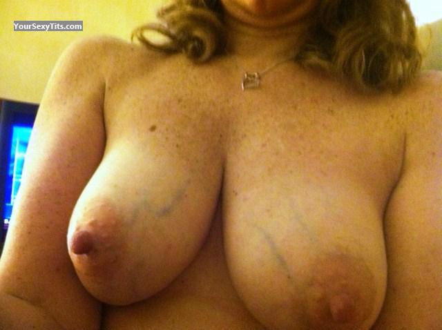 Tit Flash: My Tanlined Medium Tits (Selfie) - Jo from United States