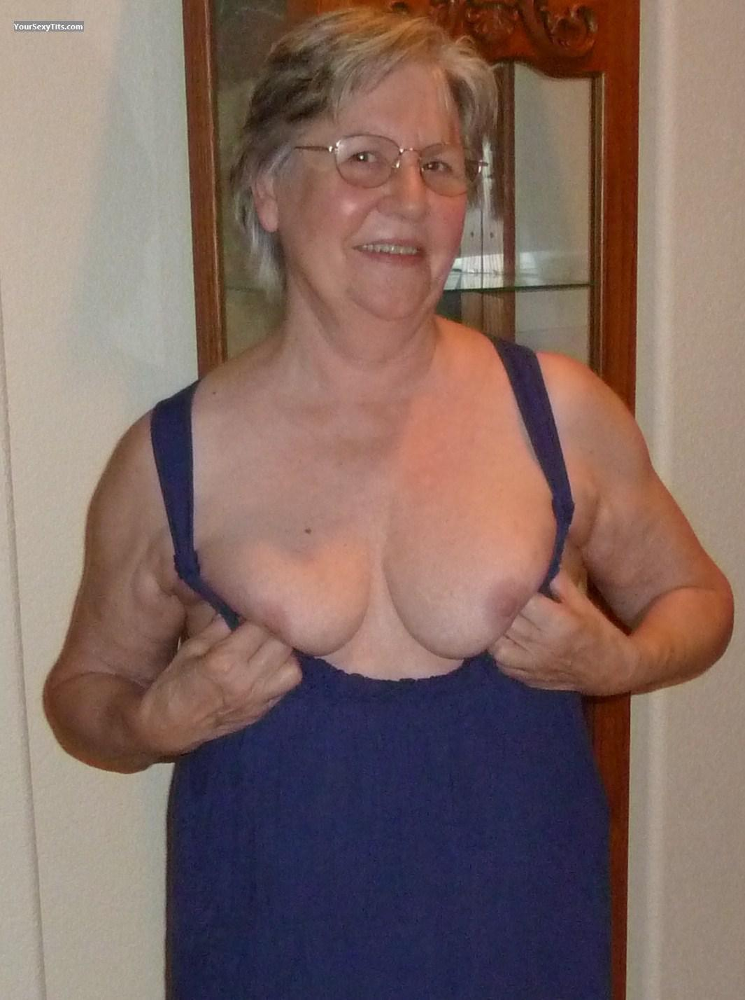 Tit Flash: Medium Tits - Topless Aunt Julia from United States