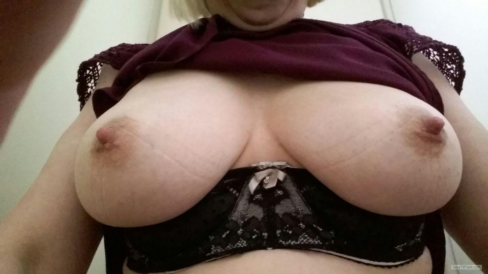 Tit Flash: Wife's Medium Tits (Selfie) - Ellens Boobs, Late Forties from United Kingdom