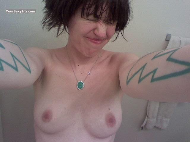 Tit Flash: My Medium Tits (Selfie) - Bolts from United States