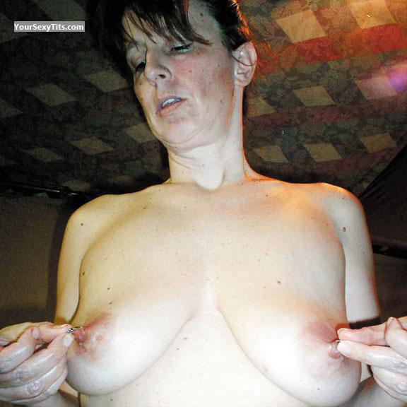 Tit Flash: Wife's Medium Tits - Topless RERE from United StatesPierced Nipples